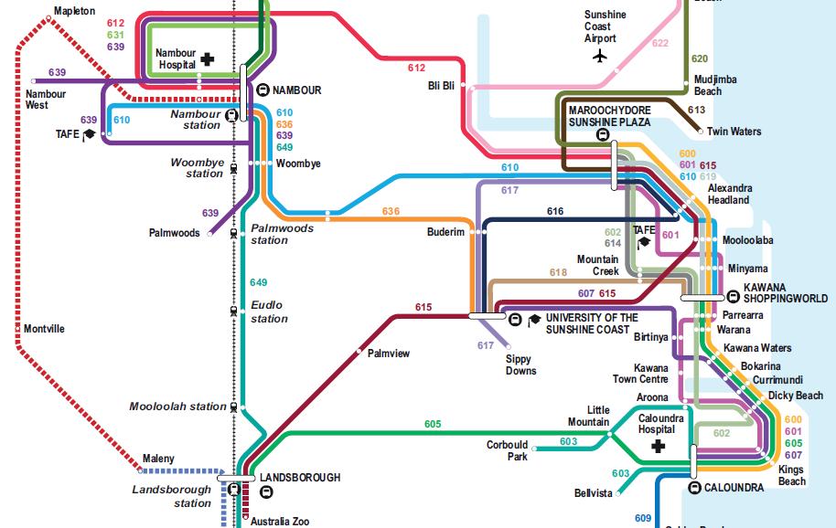 Part Sunshine Coast public transport map Sustainable